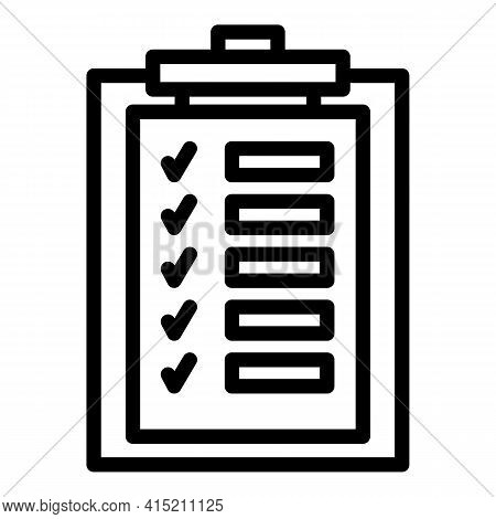 Technical Check List Icon. Outline Technical Check List Vector Icon For Web Design Isolated On White