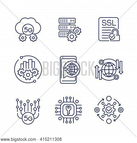 5g Network Technology Line Icons On White
