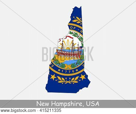 New Hampshire Map Flag. Map Of Nh, Usa With The State Flag Isolated On White Background. United Stat