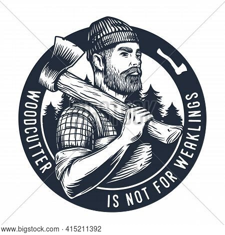 Lumberjack With Axe. Woodcutter Axeman For Logo