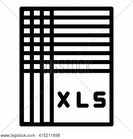 Xls Database Icon. Outline Xls Database Vector Icon For Web Design Isolated On White Background