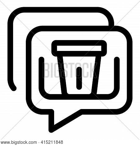 Delete Chat Icon. Outline Delete Chat Vector Icon For Web Design Isolated On White Background