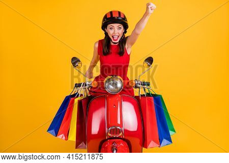 Photo Of Purposeful Lady Wear Dress Headwear Sitting Retro Bike Holding Shopping Bags Rising Fist Is