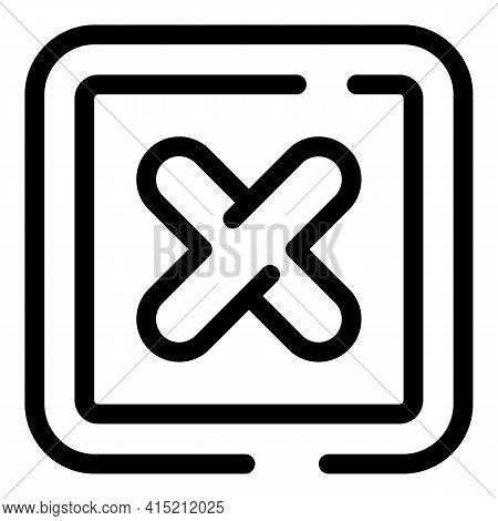 Delete Button Icon. Outline Delete Button Vector Icon For Web Design Isolated On White Background
