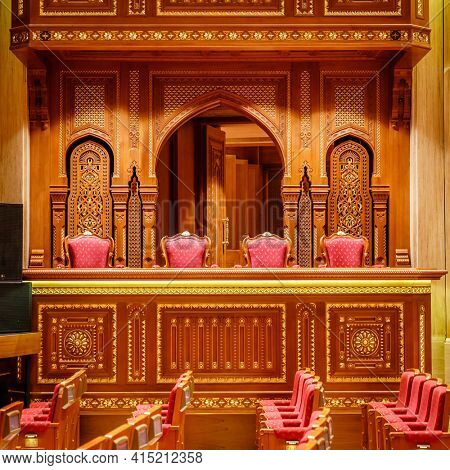 Muscat, Oman, December 3, 2016: Details of the interior of Royal Opera House  in Muscat, Oman
