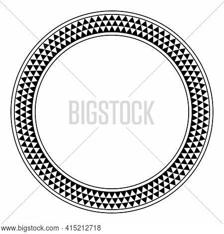 Triangle Checkered Pattern Circle Frame. Round Border With Serrated Pattern, Consisting Of Three Row