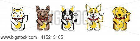 Lucky Cat With Bulldog, Corgi, Labrador, Terrier