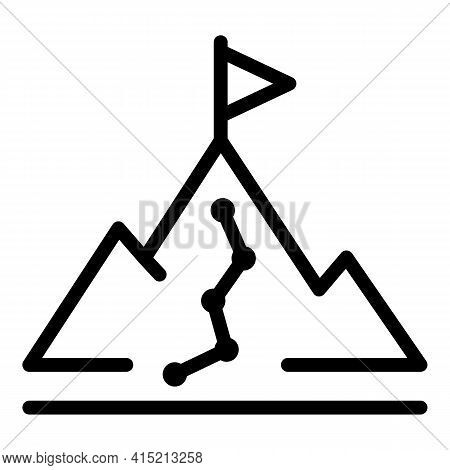 Winner Mountain Icon. Outline Winner Mountain Vector Icon For Web Design Isolated On White Backgroun