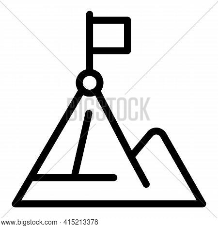 Climb Mountain Icon. Outline Climb Mountain Vector Icon For Web Design Isolated On White Background