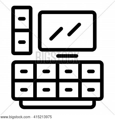 Lounge Tv Icon. Outline Lounge Tv Vector Icon For Web Design Isolated On White Background