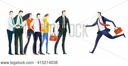 Running Businessman. Holding Up Aim, Target. Support, Business Planning, Advisory.  Business Concept