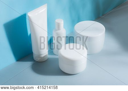 A Set Of Cosmetic Tubes For Cream, Different Sizes, Clean, White Without Inscriptions, Mocap