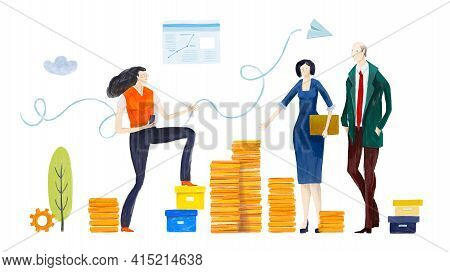 Business People, Bankers Working Next To Golden Coins. Success, Positive Growth, Investment, Develop