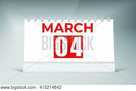 March 04, Desk Calendar Design Template. Single Date Calendar Design.