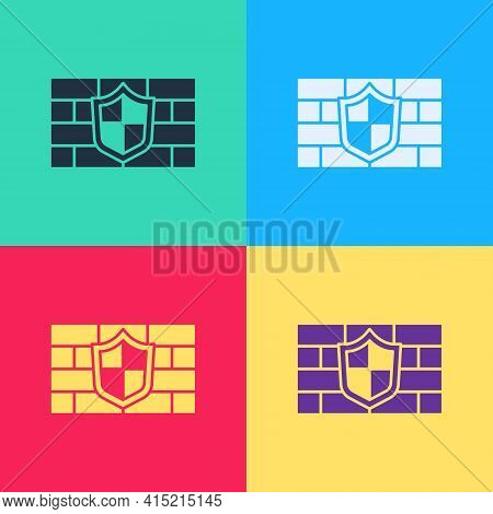 Pop Art Shield With Cyber Security Brick Wall Icon Isolated On Color Background. Data Protection Sym
