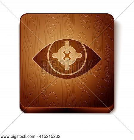 Brown Eye Scan Icon Isolated On White Background. Scanning Eye. Security Check Symbol. Cyber Eye Sig