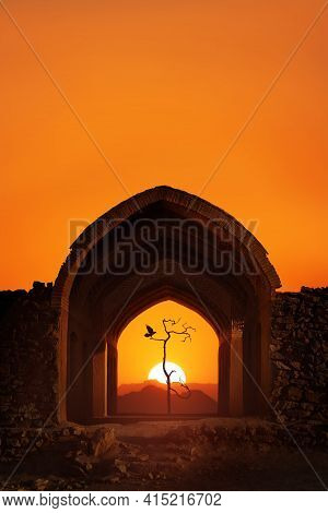Iran. Yazd. Towers Of Silence. Traditional Architectural Arch, A Dry Lonely Tree And A Bird At Sunse