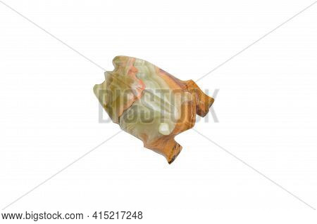 Onyx Frog Figure. Isolated On White, Top View.