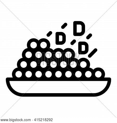 Plate Vitamin Icon. Outline Plate Vitamin Vector Icon For Web Design Isolated On White Background
