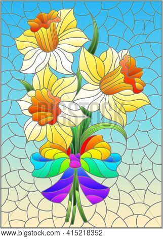 Illustration In The Stained Glass Style With A Bouquet Of Pink Daffodils On A Blue Background, Recta