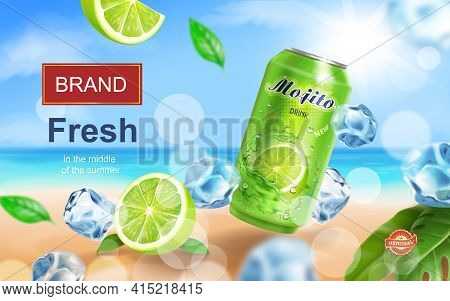 Mojito Aluminium Can Ads With Beverag With Ice Cubes On Tropical Beach, Lime And Mint Elements In 3d