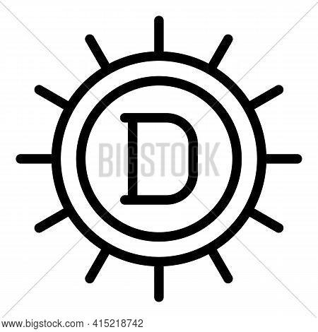 Sun Light Vitamin Icon. Outline Sun Light Vitamin Vector Icon For Web Design Isolated On White Backg
