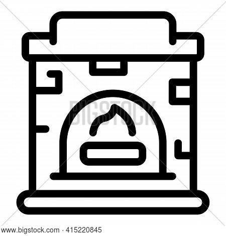 Home Fireplace Icon. Outline Home Fireplace Vector Icon For Web Design Isolated On White Background