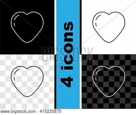 Set Line Heart Icon Isolated On Black And White, Transparent Background. Romantic Symbol Linked, Joi