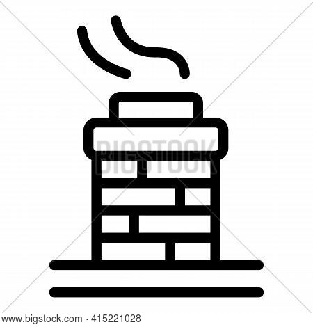 Chimney Top Icon. Outline Chimney Top Vector Icon For Web Design Isolated On White Background