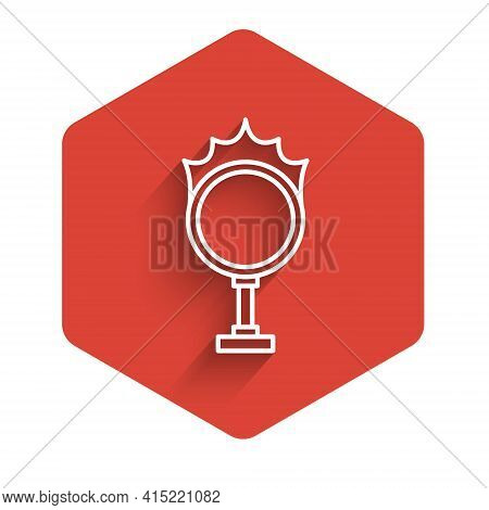 White Line Circus Fire Hoop Icon Isolated With Long Shadow. Ring Of Fire Flame. Round Fiery Frame. R