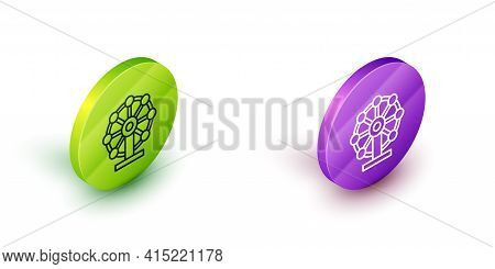 Isometric Line Ferris Wheel Icon Isolated On White Background. Amusement Park. Childrens Entertainme