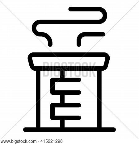 Chimney Heating Icon. Outline Chimney Heating Vector Icon For Web Design Isolated On White Backgroun