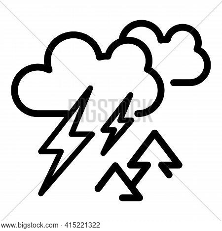 Forest Thunder Icon. Outline Forest Thunder Vector Icon For Web Design Isolated On White Background