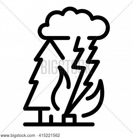 Thunder Disaster Icon. Outline Thunder Disaster Vector Icon For Web Design Isolated On White Backgro