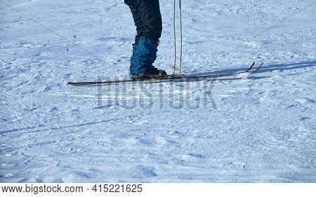 Skier's Legs And Skis (side Position). Tourist Skier On A Long Distance Route