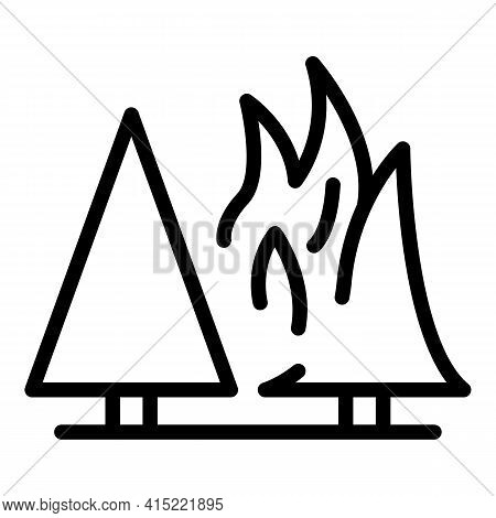 Danger Fire Forest Icon. Outline Danger Fire Forest Vector Icon For Web Design Isolated On White Bac