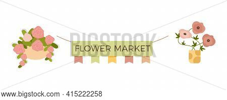 Floristics Flat Composition With Isolated Image Of Signboard With Flags And Pots On Blank Background