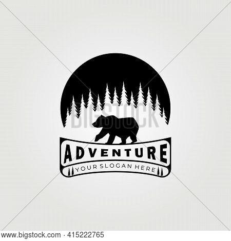 Bear Logo, Grizzly Bear, Adventure Logo, Bear Vector Illustration Design