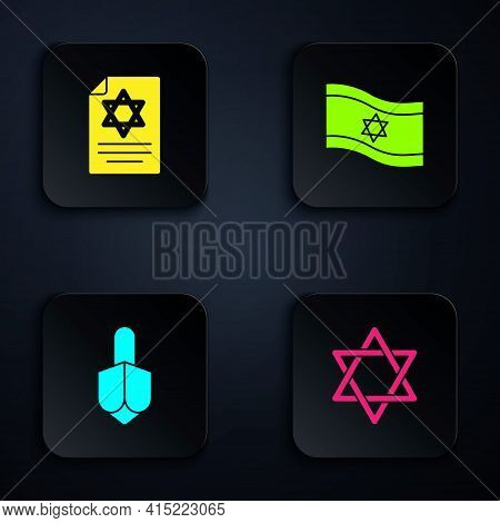 Set Star Of David, Torah Scroll, Hanukkah Dreidel And Flag Israel. Black Square Button. Vector