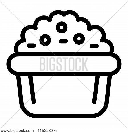 Food Bowl Icon. Outline Food Bowl Vector Icon For Web Design Isolated On White Background