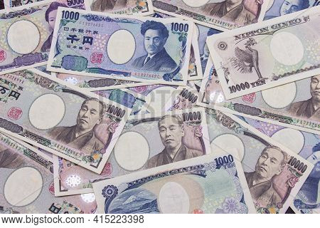 Japanese Currency Notes Background, Financial Business Of Japanese Money.