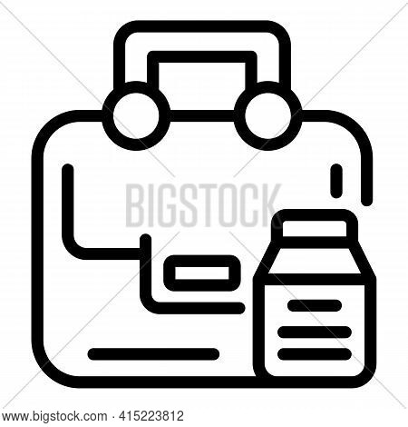 School Packet Food Icon. Outline School Packet Food Vector Icon For Web Design Isolated On White Bac