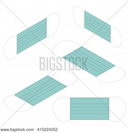 Isometric Flat Protective Medical Face Mask. Medical Mask Vector Isometric Model, Coronavirus And Vi