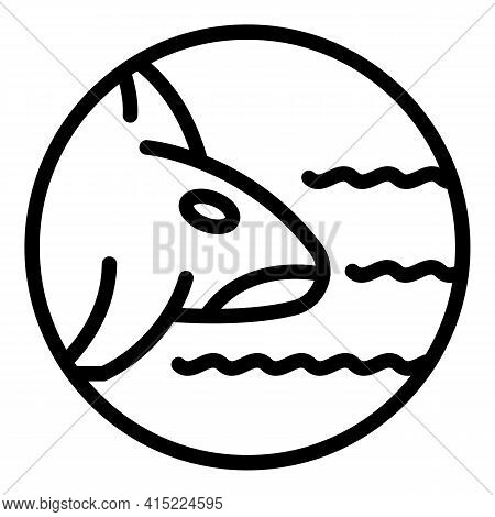 Swimming Whale Killer Icon. Outline Swimming Whale Killer Vector Icon For Web Design Isolated On Whi
