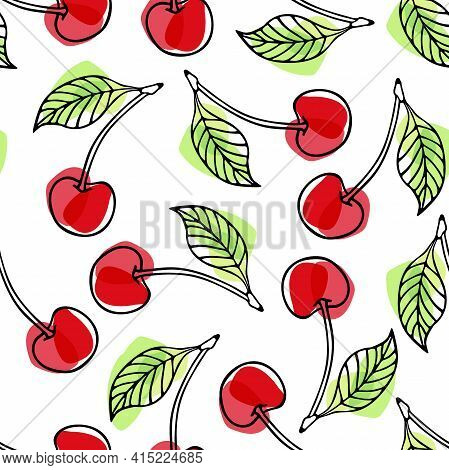 Cherry Berry Seamless Pattern. Cherry With Leaf Hand Drawn Sketch Isolated. Outline Vector Illustrat