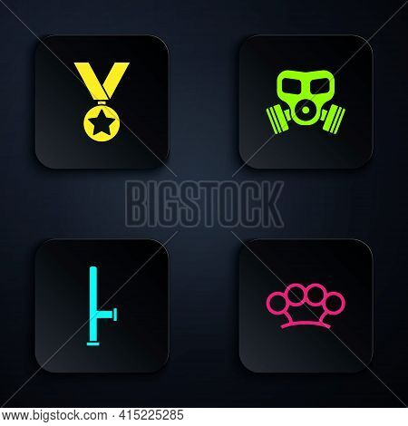 Set Brass Knuckles, Military Reward Medal, Police Rubber Baton And Gas Mask. Black Square Button. Ve