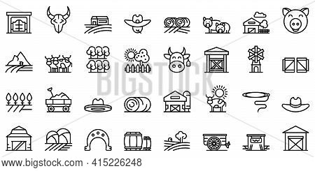Ranch Icons Set. Outline Set Of Ranch Vector Icons For Web Design Isolated On White Background