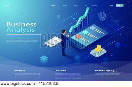 Financial Administration Concept. Data Analysis Concept With Character. Business Strategy, Analysis