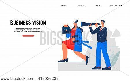 Business Vision And Career Opportunity Website Concept With People Striving Up The Career Ladder, Fl