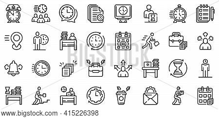 Rush Job Icons Set. Outline Set Of Rush Job Vector Icons For Web Design Isolated On White Background